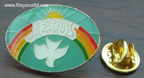 Jesus Peace Dove Sun Rainbow Lapel / Hat / Tie / Cap Holy Christian Pin Badge